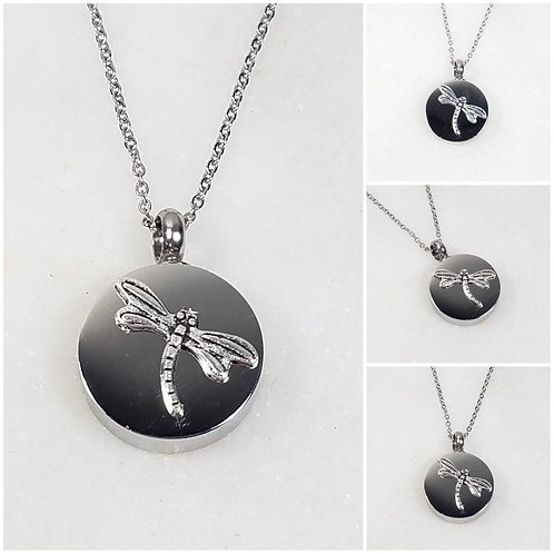 Memorial Ash Stainless Steel Cremation Round Dragonfly Urn Necklace/Cremation Pe