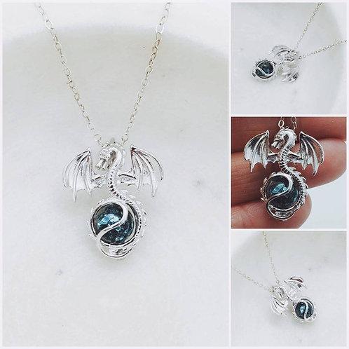 Memorial Ash Sterling Silver Dragon Locket Pendant Necklace/Cremation Pendant