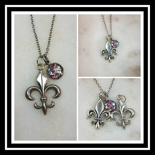 Memorial Ash Fleur de Lis Necklace/Cremation Pendant/ Pet Memorial Jewelry/ Memo