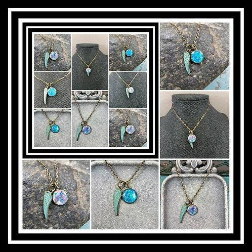 Memorial Ash Wing Pendant Charm Memorial Jewelry/ Ash Necklace/Pet Memorial/ Cre
