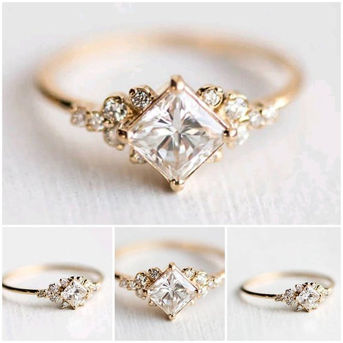 Studiodragonfly19  Minimalist 10k Gold Princess Cut Diamond Bezel Ring