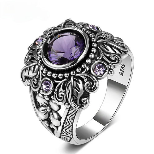 Cremation Amethyst and CZ Sterling Silver Ornate Ring