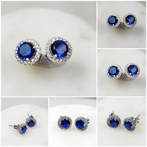 Studiodragonfly19 Memorial Ash Halo Sterling Silver CZ Cremation Earrings