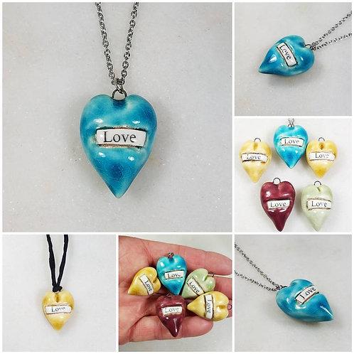 Memorial Ash Ceramic Love Heart Pendant Necklace/Cremation Necklace/Pet Memorial