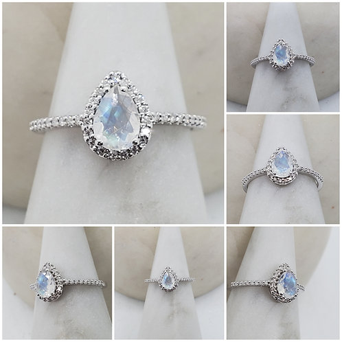 Memorial Cremation Ash Moonstone Sterling Silver and Cubic Zirconia Ring