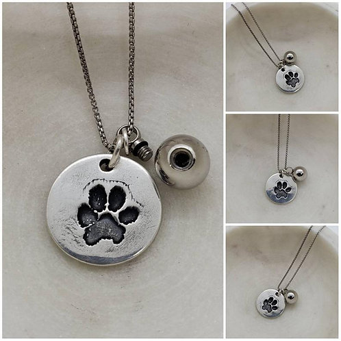 Memorial Ash Pure Silver Dog Paw Stainless Steel Urn Necklace/Cremation Pendant