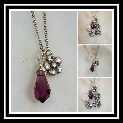 Memorial Ash Pure Silver Flower and Crystal Pendant Necklace/Cremation Memorial