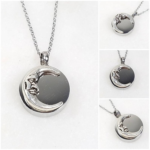 Memorial Ash Stainless Steel Cremation Round Moon Urn Necklace/Cremation Pendant