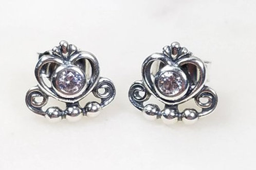Studiodragonfly19 Cremation Heart Sterling Silver CZ Stone Earrings