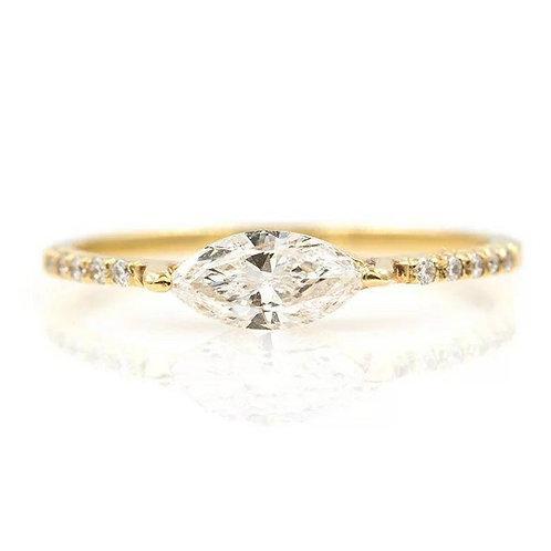 Studiodragonfly19 Memorial Ash Minimalist 10k Gold Marquis Diamonds