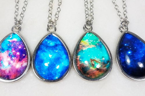 DYI Memorial Ash Cremation Galaxy Photo Glass Pendant Necklace
