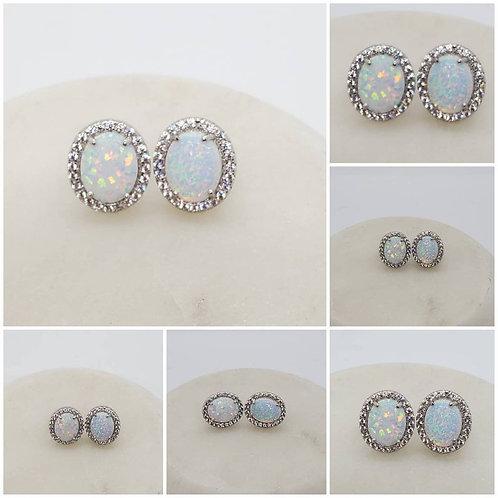 Studiodragonfly19 Memorial Cremation Opal Sterling Silver CZ Earrings/Memorial