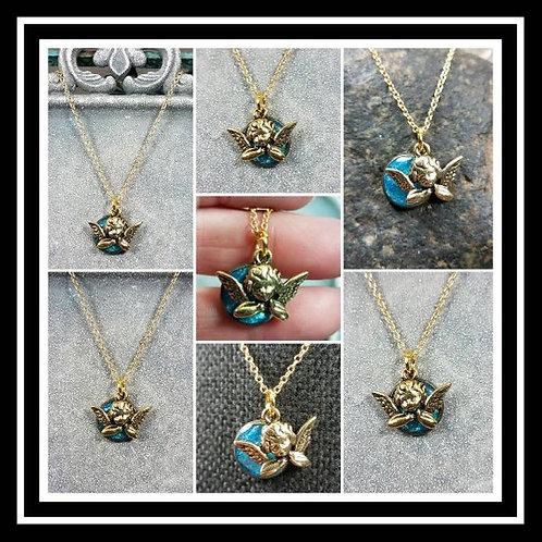 Cherub Angel Memorial Ash Necklace