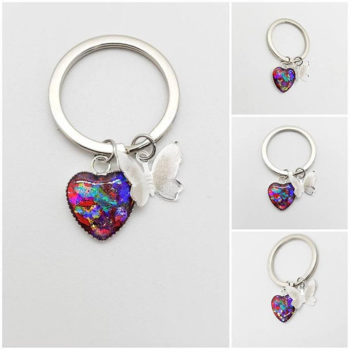 Memorial Ash Heart Butterfly Keychain/Cremation Keychain/Pet Memorial Bracelet