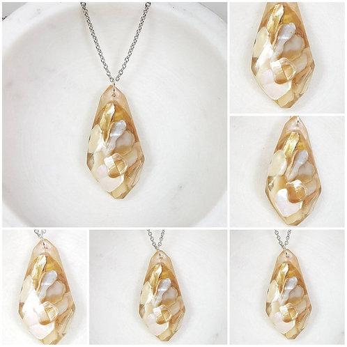 Drop Memorial Beach Shell Pendant /Memorial Jewelryh Stone Necklace/ Memorial As