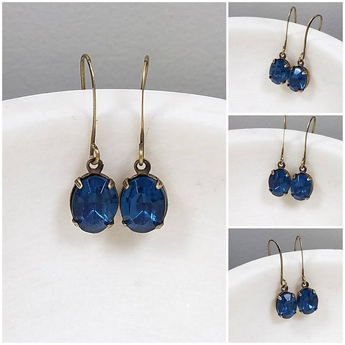 Studiodragonfly19 Cremation Vintage Montana Blue Crystal Stone Earrings