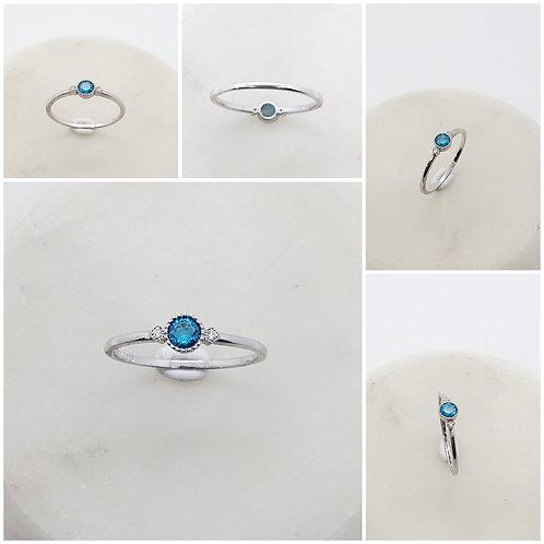 Studiodragonfly19 Memorial Ash Minimalist CZ Diamond Topaz Sapphire Bezel Ring/