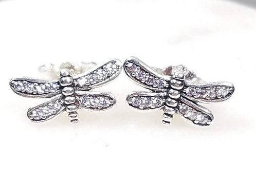 Studiodragonfly19 Cremation Dragonfly Sterling Silver CZ Stone Earrings