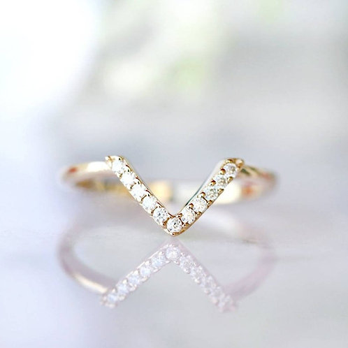 Studiodragonfly19 Memorial Ash Gold Chevron Diamond Band Ring/Memorial Ash