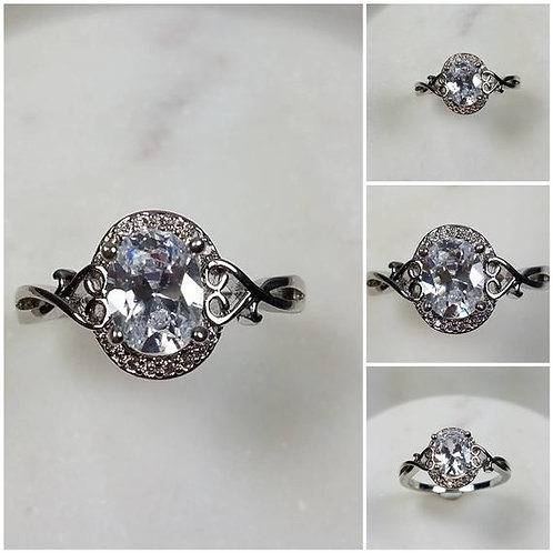Studiodragonfly19 Gem Memorial Ash Solitare 10kt CZ Diamond Cremation Ring
