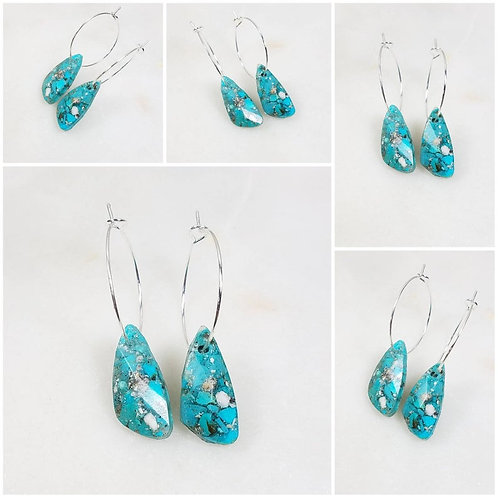 Memorial Ash Cremation Turquoise Hoop Earrings/Cremation Earring /Ash Earring/ P