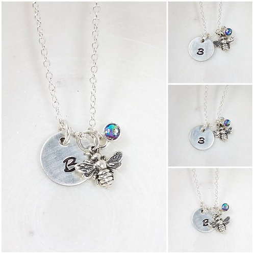 Memorial Ash Sterling Silver Bee Initial Pendant Necklace /Cremation Necklace/Pe
