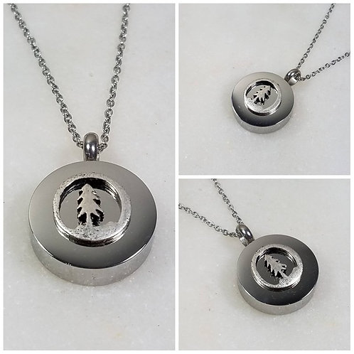 Memorial Ash Stainless Steel Cremation Round Pine Tree Urn Necklace/Cremation Pe