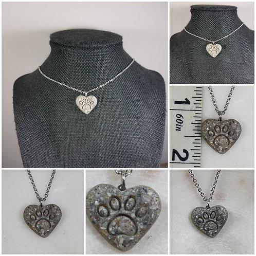 Memorial Cremation Heart Paw Memorial Ash Necklace/Memorial Necklace /Pet Memori