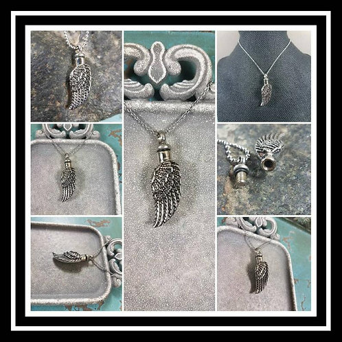 Stainless Steel Memorial Ash Urn Necklace/ Pet Urn/ Cremation Necklace/Wing Urn