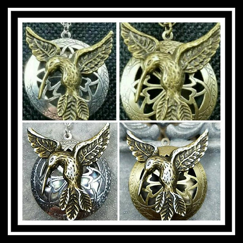 Memorial Ash Cremation Hummingbird Locket/Cremation Necklace