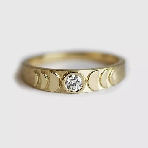 Memorial Ash Minimalist Gold Sterling Silver Moon Phase Ring/ Memorial Ash