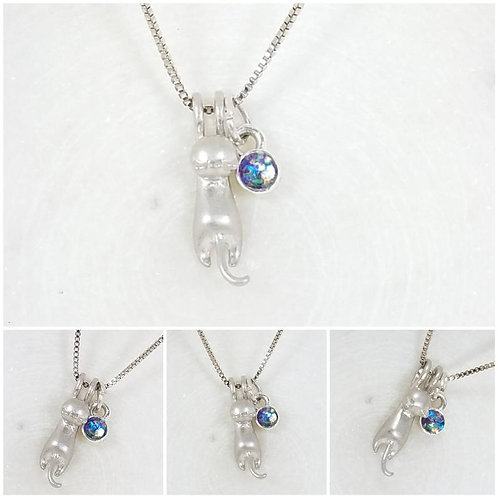 Memorial Ash Cat Charm Necklace/Cremation Pendant/ Pet Memorial Jewelry/ Memoria