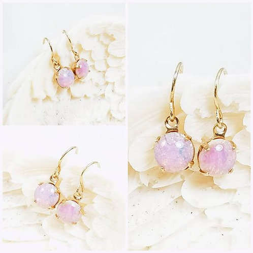 Studiodragonfly19 Cremation Vintage Opal Glass Stone Memorial Ash Earrings
