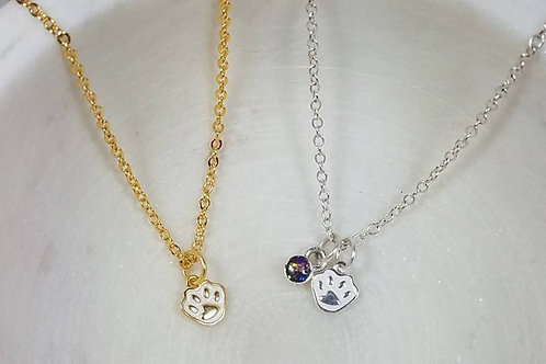Cremation Memorial Ash Sterling Silver Paw Pendant Necklace /Cremation Necklace/