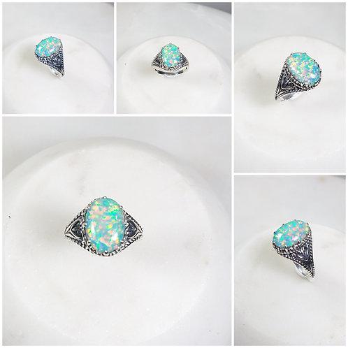 Studiodragonfly19 Cremation Oval Gem Stone Sterling Silver Ornate Ring