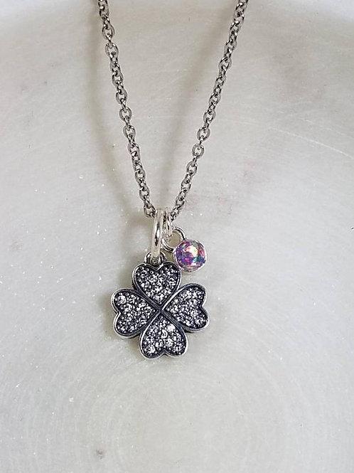 Memorial Ash Sterling Silver Clover Charm Necklace/Cremation Pendant/ Pet Memori