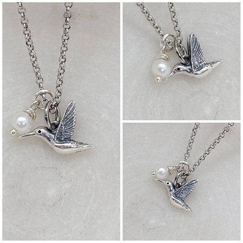 Studiodragonfly19 Cremation Sterling Silver Hummingbird Glass Pearl Memorial Ash