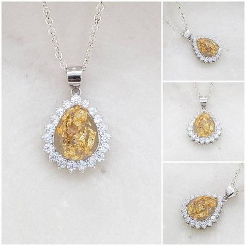 Memorial Ash Cremation CZ Sterling Silver Pear Flower Pendant Necklace