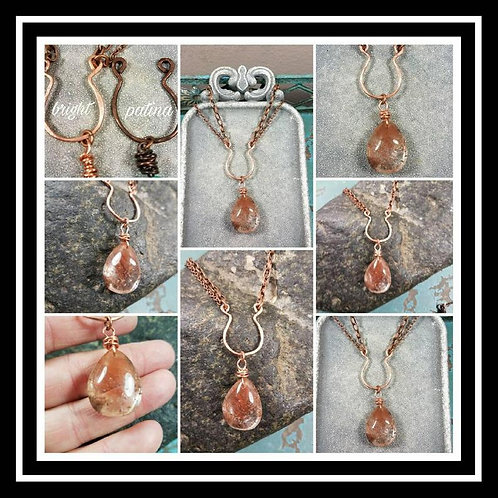 Memorial Cremation Ash Hammered Copper Rutilated Quartz Artisan Necklace/Patina