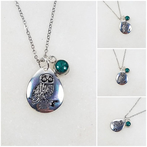 Memorial Ash Sterling Silver Owl Pendant Necklace /Cremation Necklace/Pet Ash Me