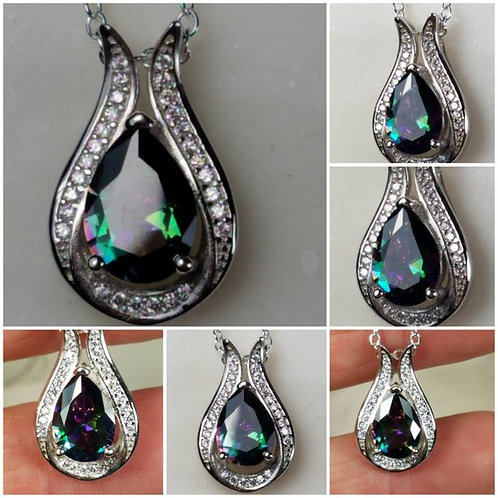 Studiodragonfly19 Gem Stone Memorial Ash Sterling Silver Crystal Pendant