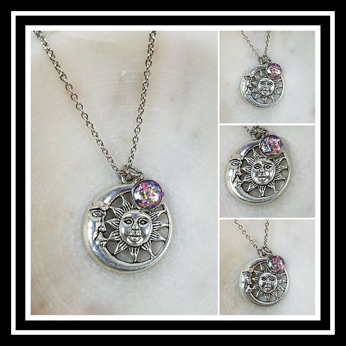 Memorial Ash Sun and Moon Pendant Necklace/Cremation Pendant/ Pet Memorial Jewel