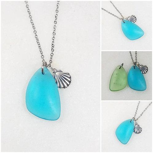 Studiodragonfly19 Memorial Ash Beach Glass Pendant Necklace/Cremation Memorial A
