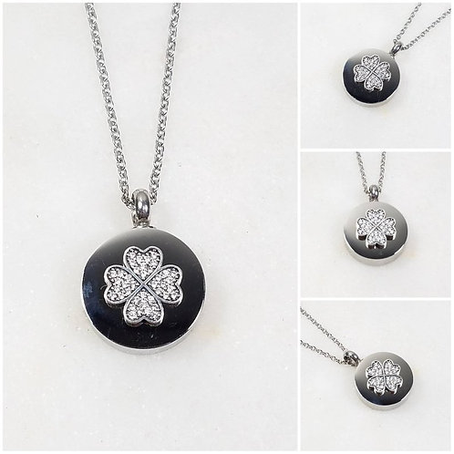 Memorial Ash Stainless Steel Cremation Round Urn 925 CZ Clover Necklace/Crematio