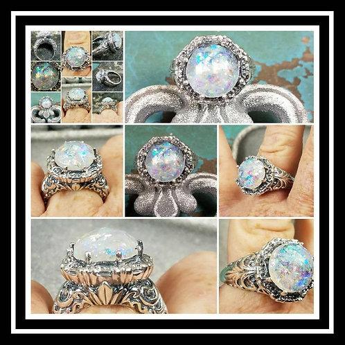 Ornate Memorial Ash Sterling Silver Ring /Memorial Ash Cremation Ring/Pet Memori