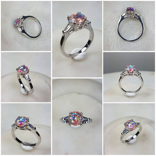 Memorial Ash Round Baguette Side Stones10kt White Gold Diamond Cremation Ring /M