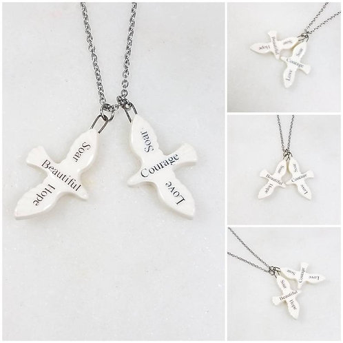Memorial Ash Ceramic Word Dove Pendant Necklace/Cremation Necklace/Pet Memorial