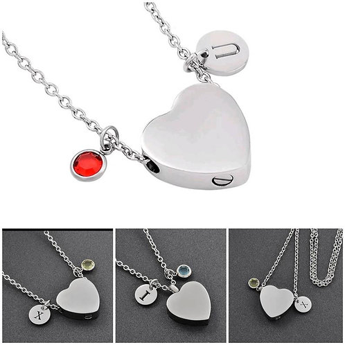 Memorial Ash Stainless Steel Cremation Heart Urn Necklace/Initial Birthstone Pen