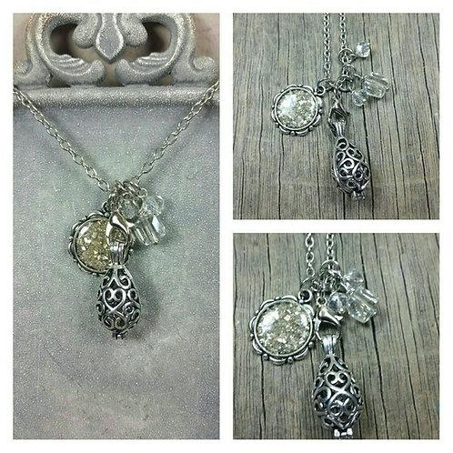 Memorial Ash Charm Locket Pendant Necklace