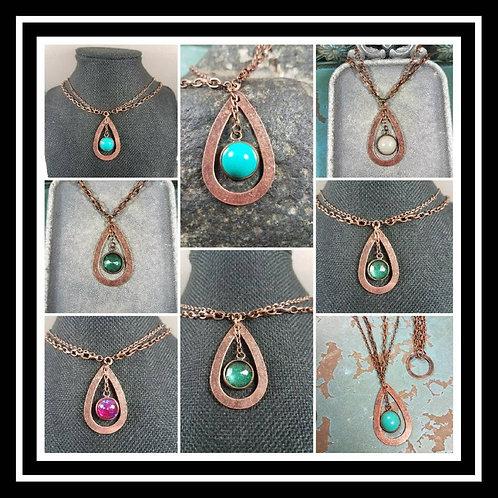 Memorial Ash Copper Drop Necklace/Cremation Pendant/ Pet Memorial Jewelry/ Memor